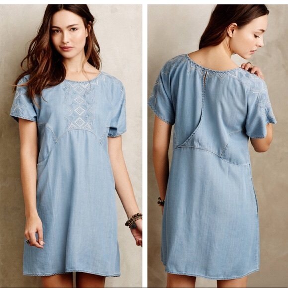 32e281d7e347 Anthropologie Dresses | Holding Horses White Sands Chambray Tunic ...